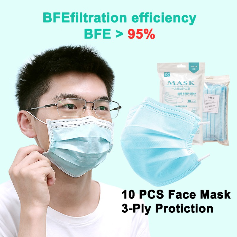 3-ply Face Mask, Civilian Face Mask earloop Disposable, Breathable Anti-Fog Dust-Proof Comfortable [10 PCS / Ready Stock]